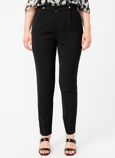 Ekol Ekol 2186 Yüksek Bel Boru Paça Toka Detay Kemerli Kadın Pantolon Siyah